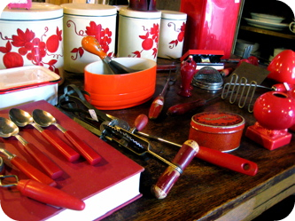 Red vintage kitchen utensils
