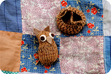 Knit owl and nest