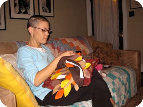 Kelly sewing for Ari